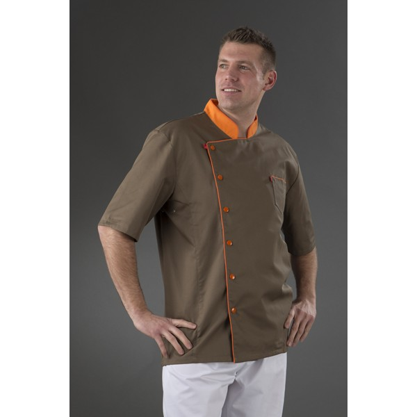 Veste cuisine marron col orange id al veste chocolatier Veste de cuisine orange