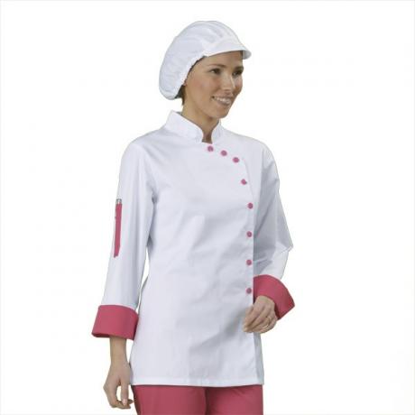 Veste Cuisine Femme Blanc Et Fuchsia Manches Longues Label
