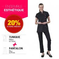Ensemble Esthetique tunique Mao Noir pantalon Isy Noir