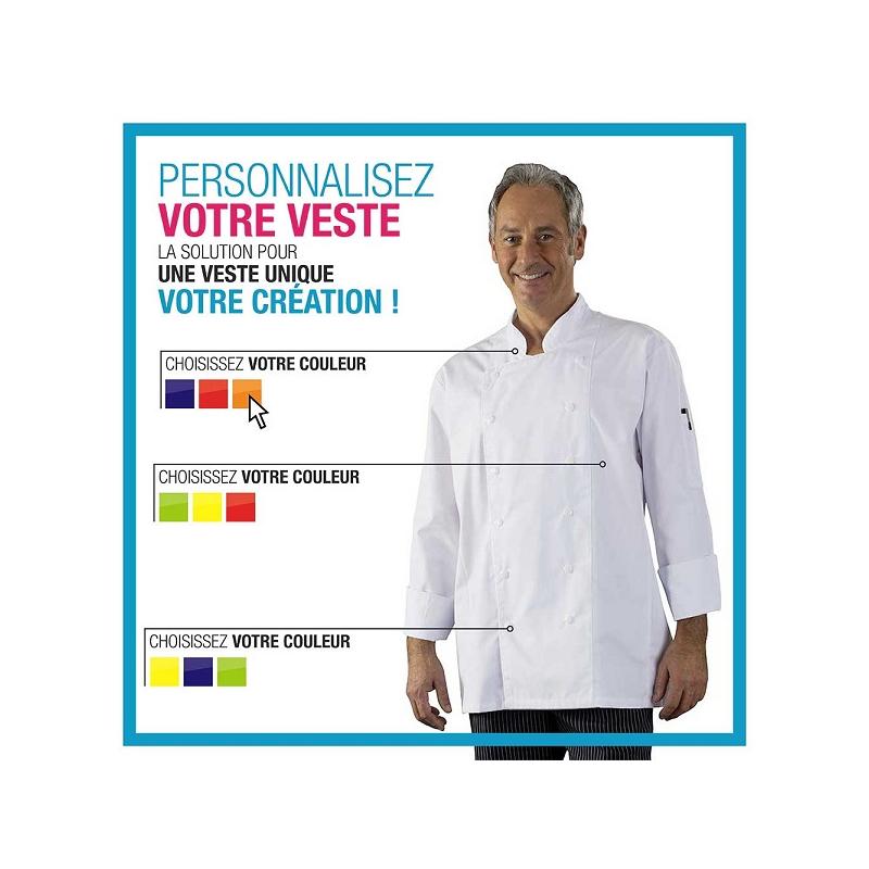 Veste de cuisine double pressions personnaliser label - Veste cuisine homme personnalise ...